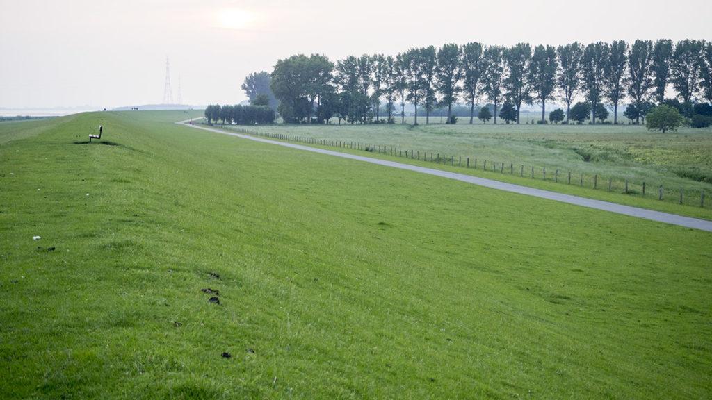 Labská cyklostezka často vede po obou stranách valu