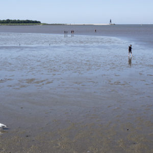 Pobřeží v Cuxhavenu nevypadá moc lákavě